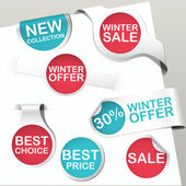 Set of blue and red colored paper bookmarks and labels with promotion text for winter sale and christmas