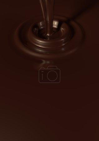 Liquid dark chocolate background