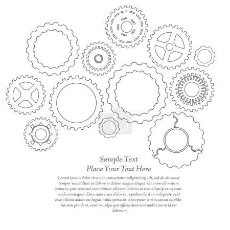 Illustration pour Croquis des engrenages et des pignons. Illustration vectorielle abstrait . - image libre de droit