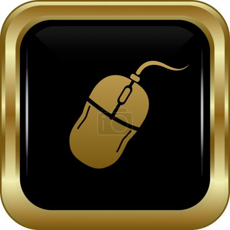Illustration for Black gold computer mouse icon. Abstract vector illustration. - Royalty Free Image