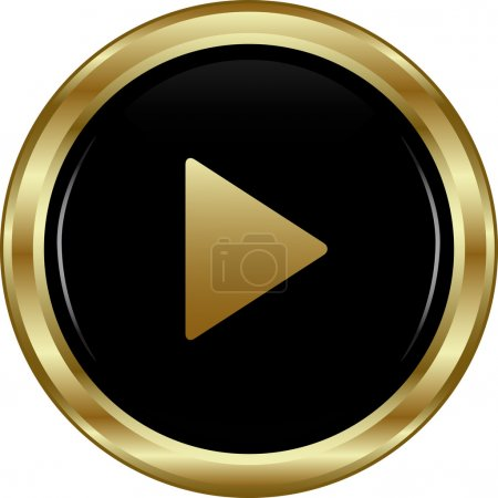 Illustration for Black gold play button. Abstract vector illustration. - Royalty Free Image