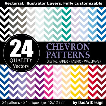 24 Chevron pattern, vector printable printable digital paper