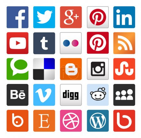 Illustration pour Simple boutons ou les icônes de médias sociaux plat. vecteur fichier eps 10, personnalisable whith illustrator ou coreldraw, utile pour les blogs, graphisme et webdesign - image libre de droit