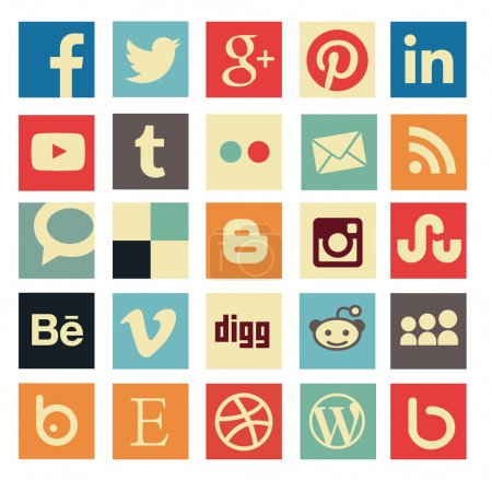 Illustration for Simple flat social media icons or buttons in retro old style. Vector file eps, customizable with illustrator or coreldraw, usefull for blogs, graphic design and web-design - Royalty Free Image
