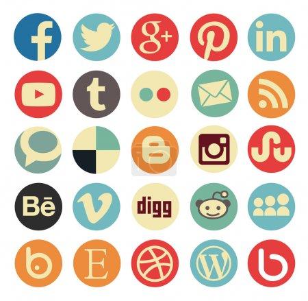 Simple social media icon retro style