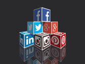 Social media 3d cubes in perspective vector image fully customizable with colors and designs Great for expressing concepts and contents or to build infographics about internet most popular social media marketing sharing and other web things