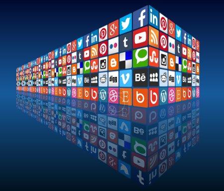 Illustration pour Logos plus populaires de médias sociaux dans une 3d mur point de vue, image vectorielle entièrement personnalisable avec les couleurs et les conceptions. idéal pour exprimer des concepts et des contenus ou de construire l'infographie sur internet, médias sociaux, marketing, partage, autres choses web. - image libre de droit