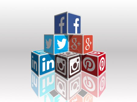 Illustration for Social media most popular 3d cubes in perspective, vector image fully customizable with colors and designs. Great for expressing concepts and contents or to build infographics about internet, social media, marketing, sharing, and other web things. - Royalty Free Image