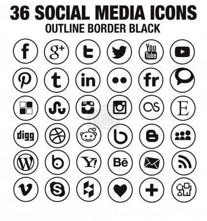 Illustration for SImple social media icons Hight quality vectors fully customizable for blogs, websites, webdesign- new version - circle black whith outline border - Royalty Free Image