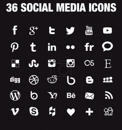 Illustration for SImple social media icons Hight quality vectors fully customizable for blogs, websites, webdesign - Royalty Free Image