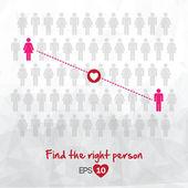 Illustration of people icons, find love, vector illustration des