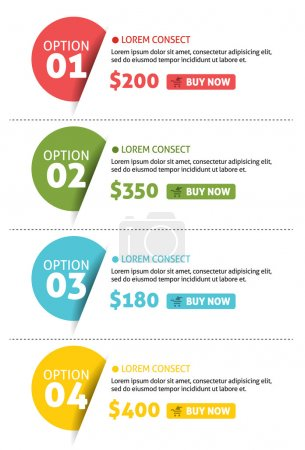 Illustration for Vector Number Options Banner with Buy Button - Royalty Free Image