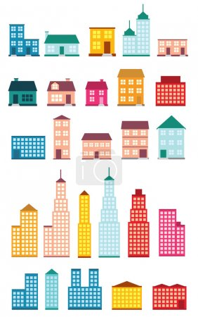 Illustration for Set of icons of houses. - Royalty Free Image
