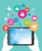 Vector tablet mobile app development concept