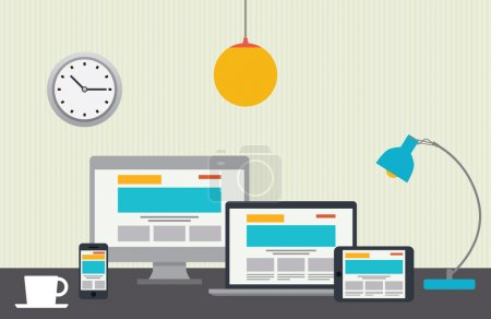 Flat design vector illustration of designer desktop