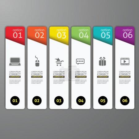 Illustration pour Modèle de bannières colorées pour la présentation étape - peut être utilisé pour l'infographie, la conception d'entreprise ou la mise en page de flux de travail - image libre de droit