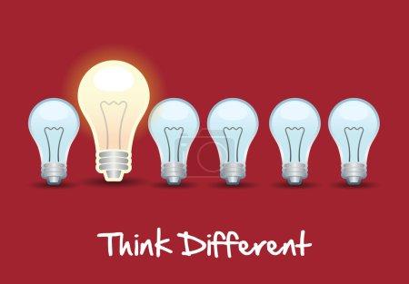 Illustration pour Penser différemment sur fond rouge illustration vectorielle - image libre de droit