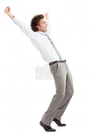 Foto de Empresario feliz levantando los brazos para celebrar el éxito - Imagen libre de derechos
