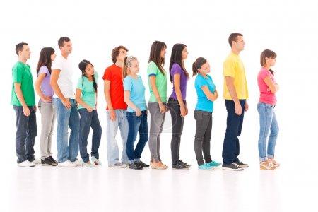 Photo pour Un groupe de commandes dans la file d'attente, isolé sur blanc. - image libre de droit