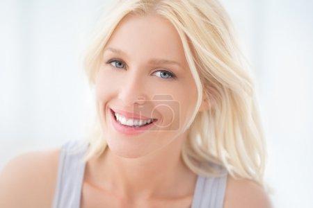 Beautiful Blue-Eyed Woman Smiling