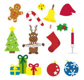 Collection of various christmas things as reindeer mistletoe gingerbread bell candle hat presents jingle bells etc