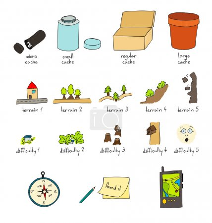 Geocaching vector illustration