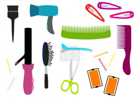 Hair salon equipment illustration set