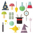 Set of vector equipment for magic and tricks for m...