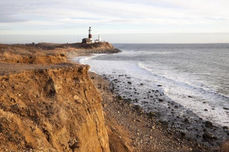 Cliffs the Atlantic and the Montauk Lighthouse