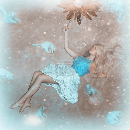 Girl in weightlessness