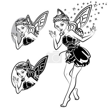 Illustration pour Silhouette de fée - image libre de droit