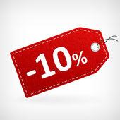 Red leather price labels ten percent saleoff