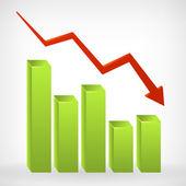 Busines lesklý grafu šířka negativní šipka dolů