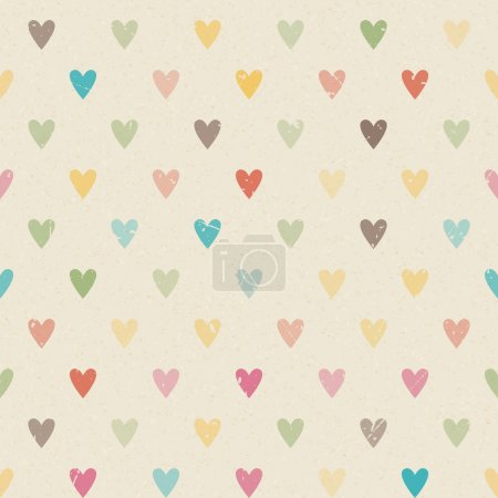 Illustration for Valentine colorful retro seamless hearts vector pattern paper - Royalty Free Image