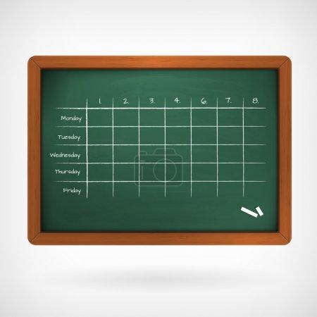 Illustration pour Calendrier scolaire sur l'illustration de vecteur de tableau noir isolé de fond. - image libre de droit
