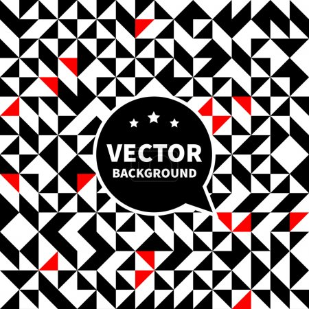 Vector seamless background pattern, white black red triangle.
