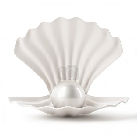 3d White Shell with Pearl isolated on white background