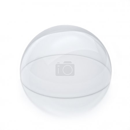 Transparent 3D Dome Isolated Over White Background,
