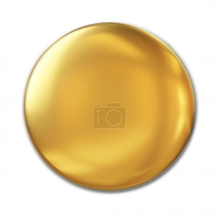 Golden Badge Isolated Over White Background