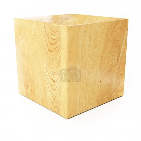 Wooden Cube Isolated on White Background