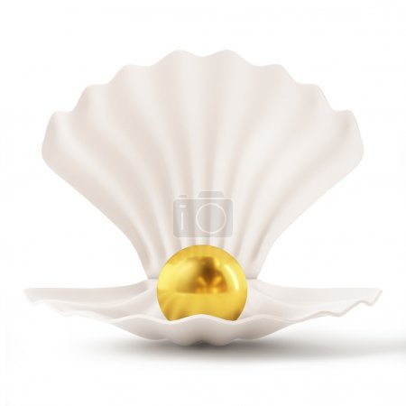3d White Shell with Golden Pearl isolated on white background
