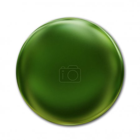 Green Badge Isolated Over White Background