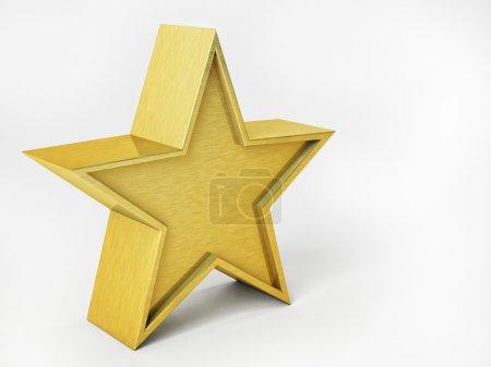3D Illustration of Golden Star Isolated Over White Background