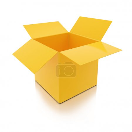 Photo for 3D Yellow Open Box Isolated on White background - Royalty Free Image