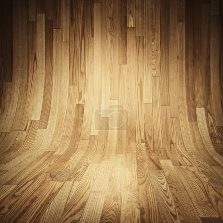 Parquet wood texture - Room covered with wooden planks - Wooden floor and walls.