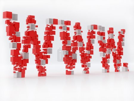 WWW 3D letters made of cubes isolated over white