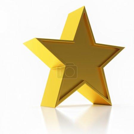 Foto de Ilustración 3D de la estrella dorada aislada sobre fondo blanco - Imagen libre de derechos