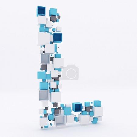 3D letter L build out of cubes