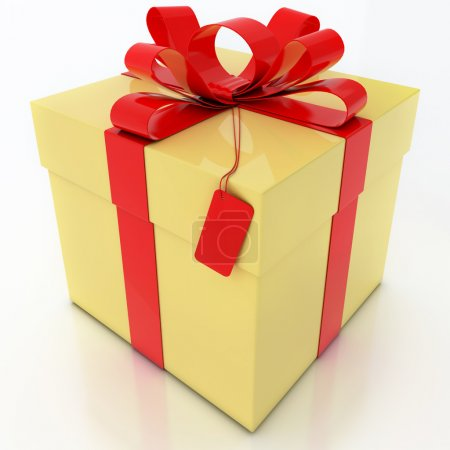 Yellow Gift Box with Red Ribbon on White Background
