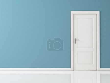 Closed White Door on Blue Wall, Reflective Floor...